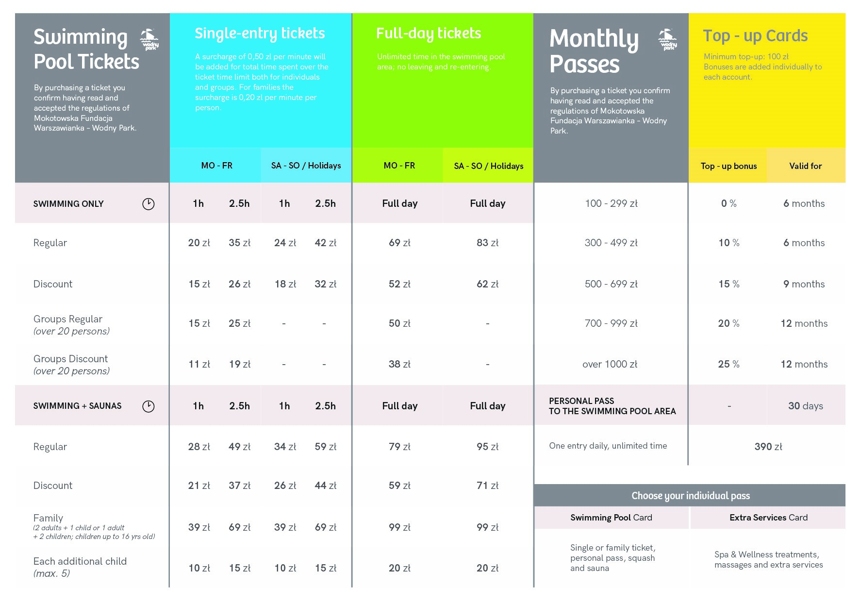 Price list - Aquapark - Olympic and recreational swimming ...